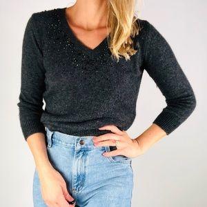☕️ZARA KNIT Grey Beaded V Neck Angora Sweater